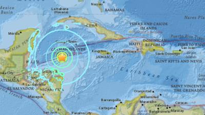 Un fuerte sismo de 7.6 de intensidad afecta el Caribe frente a las costas de Honduras