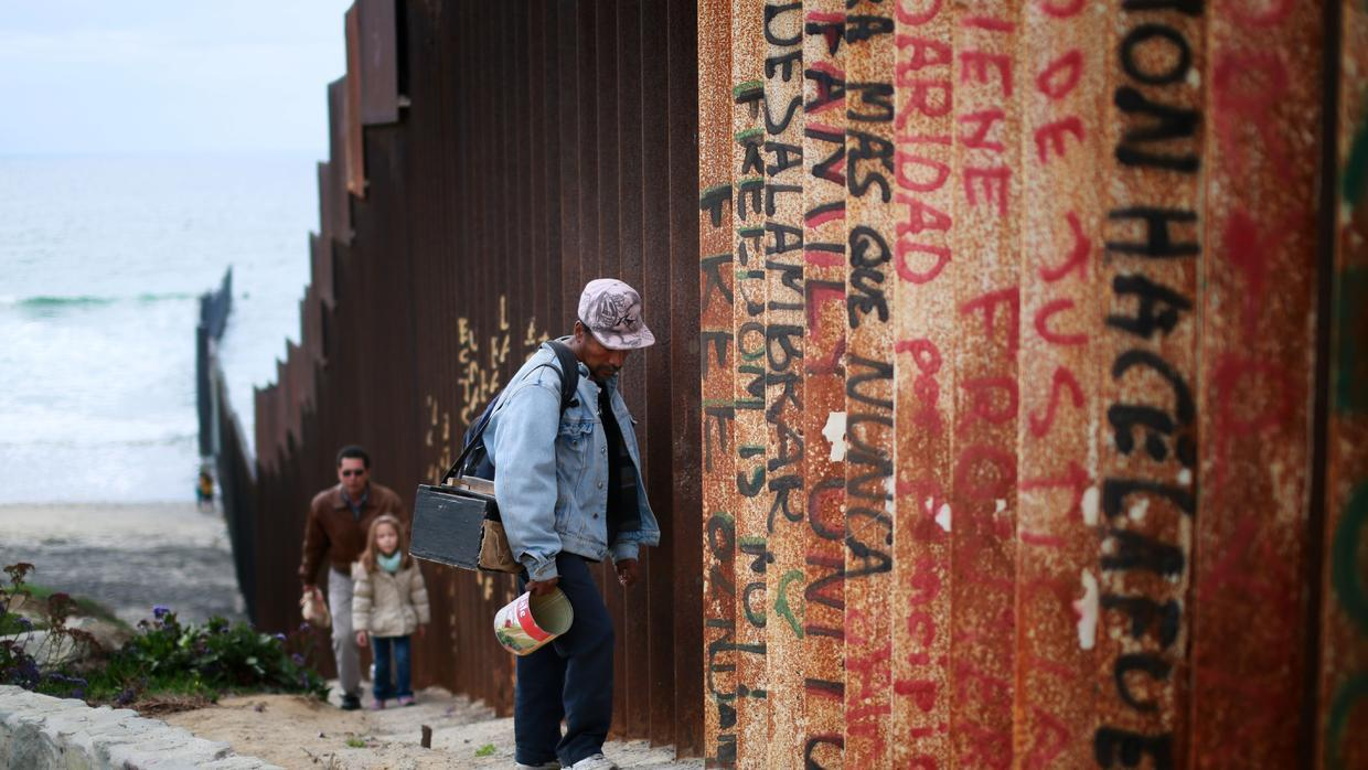 The border wall that divides San Diego, California and Tijuana, Mexico.