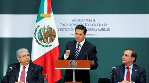El presidente Enrique Peña Nieto ante empresarios y líderes sindicales
