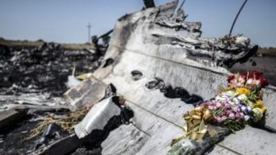 Una ofrenda de flores colocada sobre los restos del MH17 de Malaysia Air...