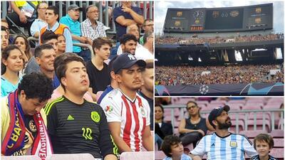 Mexicanos y argentinos encendieron la fiesta de la Champions en el Barcelona vs. PSV