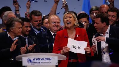 Marine Le Pen durante un mitin en París esta semana.