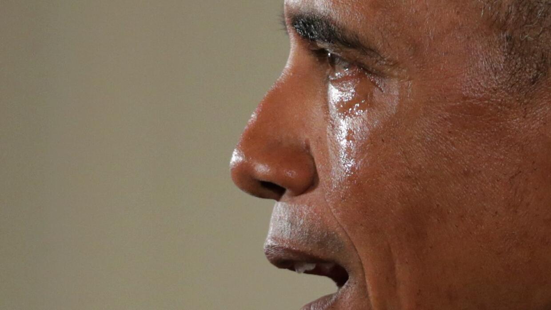 Obama claramente emocionado.