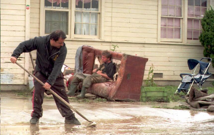 En marzo de 1995, las fuertes lluvias causaron estragos en la localidad...