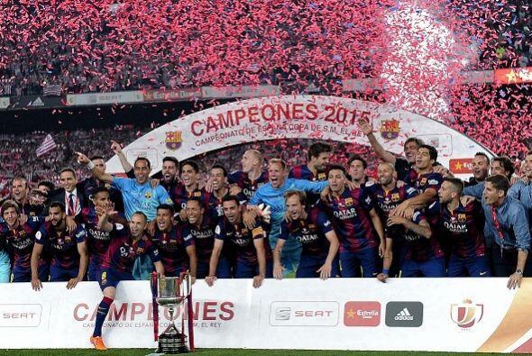 El Barcelona ganó la Copa del Rey y lo celebró en el Camp...