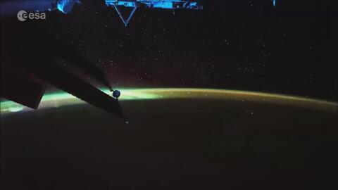 Una mirada de la Aurora Borealis visto desde la Estación Espacial ISS