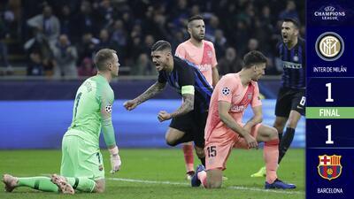 Barcelona empata con el Inter y queda a un paso de clasificarse a Octavos de Final
