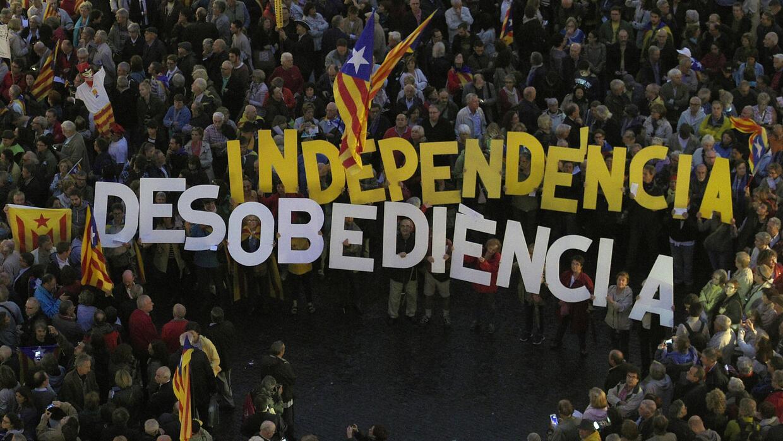 Manifestación de independentistas en Cataluña