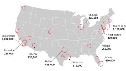 La gran mayoría de los inmigrantes indocumentados prefieren las ciudades...