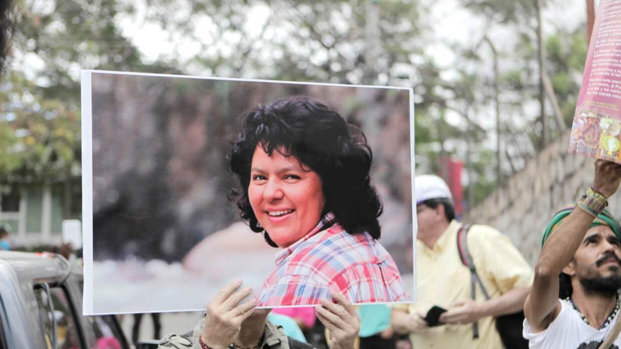 Berta Caceres photo held up duirng a protest march in Tegucigalpa, Honduras