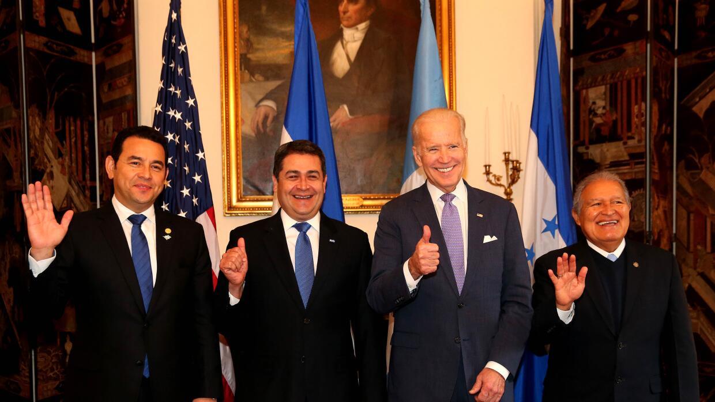 Biden con los presidentes del Triángulo Norte.