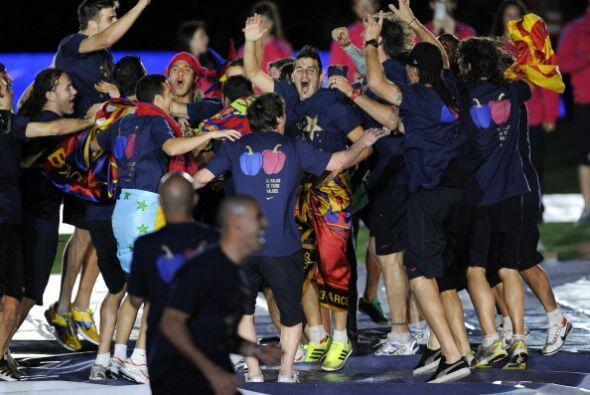 Ha sido una celebración sin trofeo, puesto que físicamente los jugadores...
