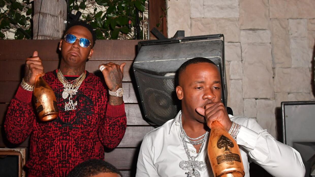 Rapper Moneybagg Yo (left) and Yo Gotti (right) at Le Jardin Nightclub o...