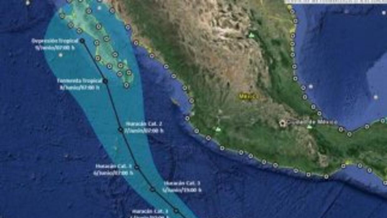 Proyección de la trayectoria de Blanca, según Conagua