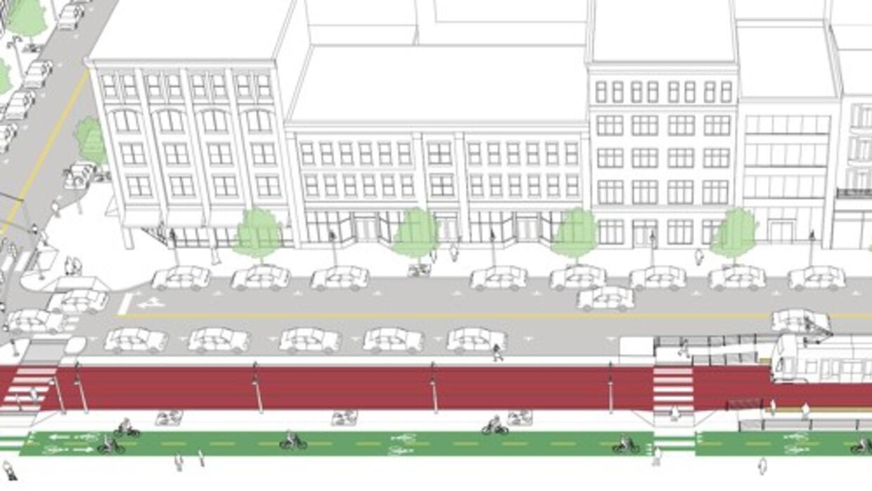 Calle con intersecciones para peatones.