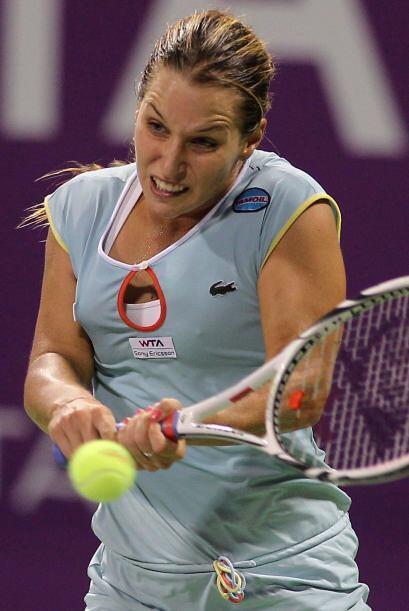 Slovak Dominika Cibulkova, tenista de profesión, y su cara particular en...