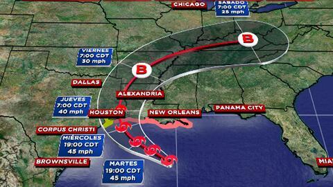 La tormenta tropical Cindy puede dejar hasta 7 pulgadas de acumulaci&oac...