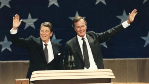 Bush y Reagan durante la convención de 1984.