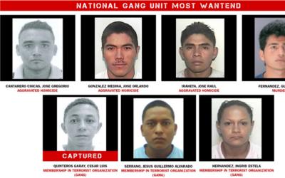 Imagen de los miembros de la MS-13 añadidos desde este jueves a l...