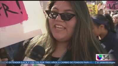Contundente convocatoria en la marcha de las Mujeres en Los Ángeles