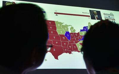 Una visualización del mapa electoral de EEUU durante las eleccion...