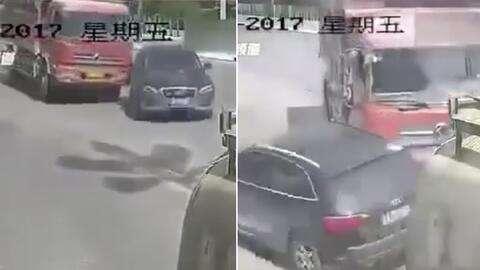 En Video: Camión aplasta a una Audi SUV en China