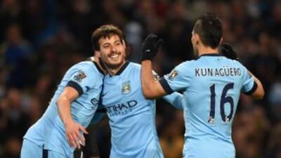 David Silva celebra su segundo gol sobre Newcastle.