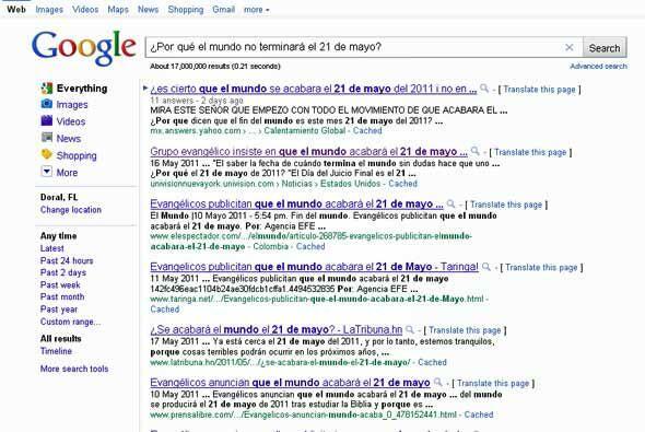 Razón #20: Una búsqueda en Google con la pregunta ¿terminará el mundo el...