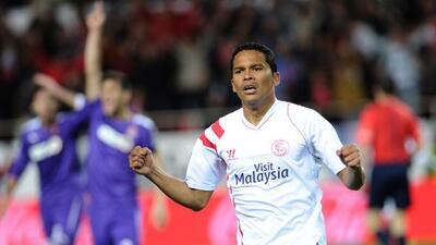Bacca celebra uno de los goles del cuadro sevillista.