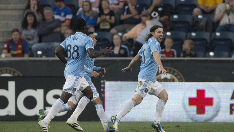 McNamara celebra su primer gol con el New York City FC.
