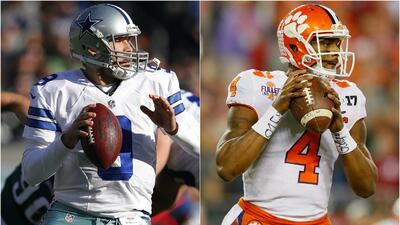 ¿Tony Romo, veterano de Dallas o Deshaun Watson, prospecto de Clemson?