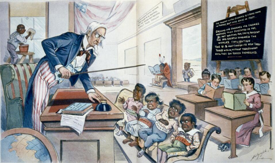Este dibujo muestra al tío Sam impartiendo clase a unos niños malhumorad...