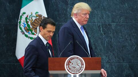 Donald Trump y Enrique Peña Nieto durante su encuentro en la Ciudad de M...