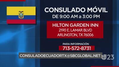 Consulado móvil para ecuatorianos en Arlington, Texas