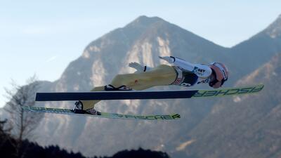 Espectáculo en el aire en la Copa Mundo de esquí en Austria