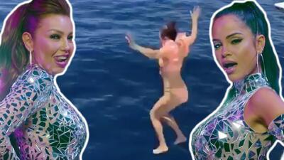 """Thalía celebra con un """"salto extremo"""" (desde un mega yate) el éxito de su reggaeton con Natti Natasha"""