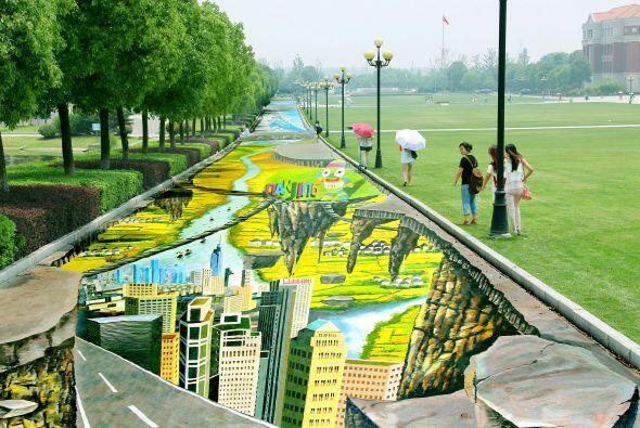 En Jiangsu, China, se encuentra la pintura callejera más grande del mund...