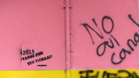 Pintas que rechazan la construcción del canal interoceánico en Nicaragua.
