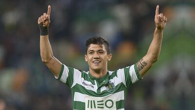Fredy Montero celebra un gol con Sporting CP