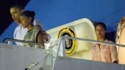 El presidente estadounidense Barack Obama y su familia llegaron el sábad...