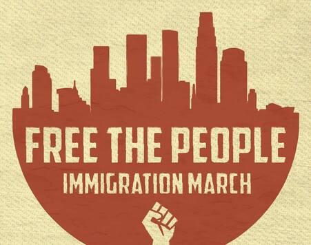 "Volante de la marcha ""Free the people"" contra Trump."