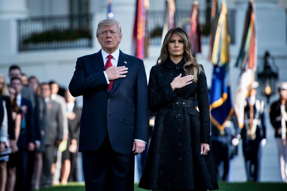 En la Casa Blanca, el presidente Donald Trump, la primera dama Melania T...