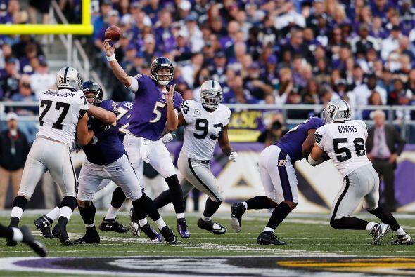 Joe Flacco lanzó para 341 yardas y tres TDs, para que los Ravens...