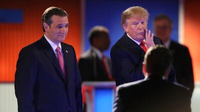 Donald Trump y Ted Cruz en el sexto debate republicano