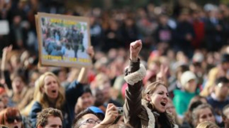Los manifestantes se concentraron delante del parque Zuccotti, donde se...