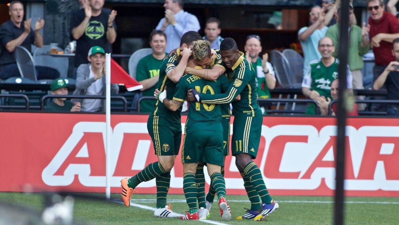 Portland Timbers celebra gol contra DC United