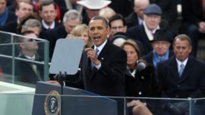 El presidente Barack Obama pronuncia el discurso inaugural durante su to...