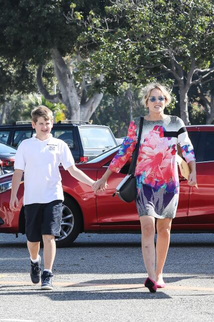 Actress, Sharon Stone, takes her son Laird Vonne Stone to renew his pass...