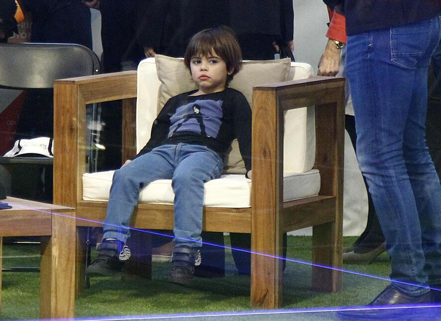 Gerard Pique takes his kids, Milan and Sasha, to the Inauguration of a p...