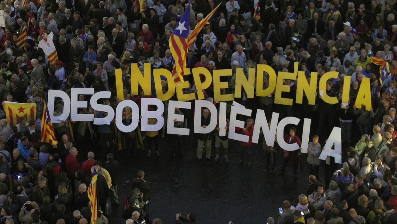 Manifestación de independentistas en Cataluña.